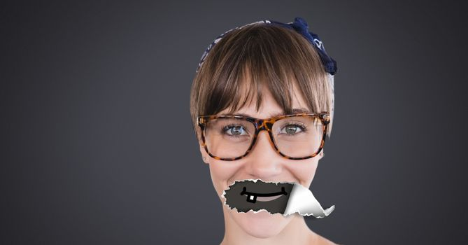 Woman with torn paper on mouth and cartoon mouth