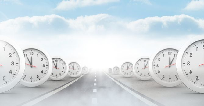 time clocks on surreal road perspective