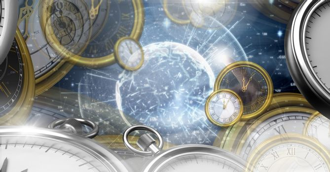 Surreal Time and space clock concept