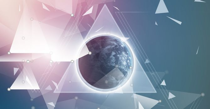 Triangular polygon shapes coalescing background with planet earth