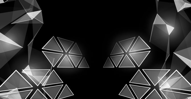 Triangle polygons glowing in darkness