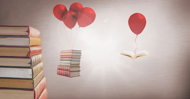 Floating books hanging off surreal balloons