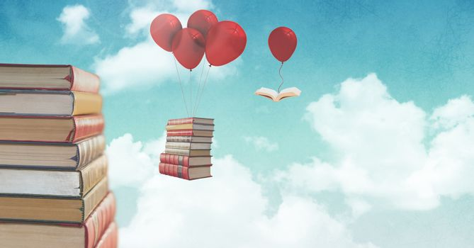 Floating books on balloons in surreal sky