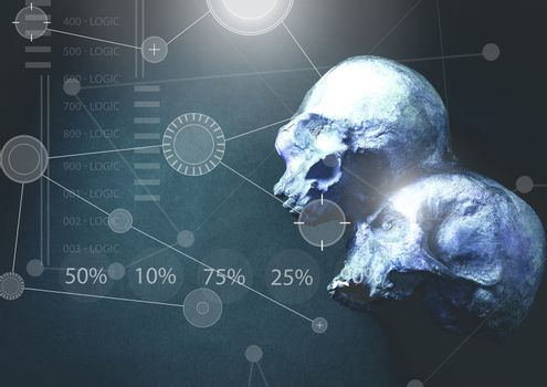 Interface overlay of connection statistics graphics with archaeology human skulls background