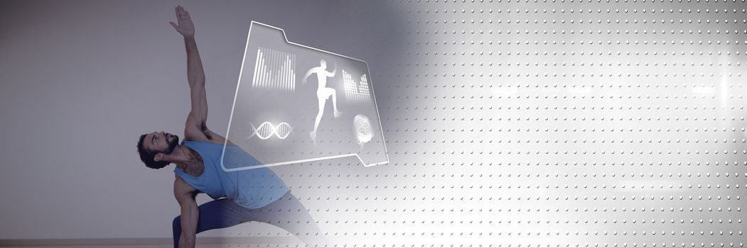 Digital composite of Athletic fit man exercising yoga with health interface