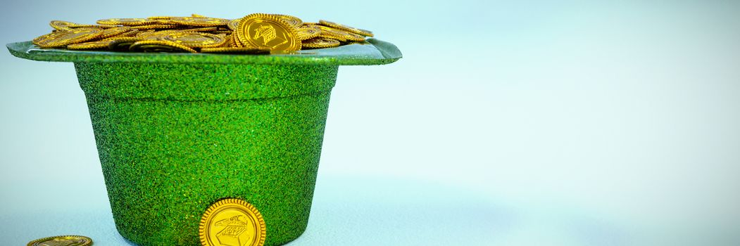 St Patricks Day leprechaun hat filled with chocolate gold coins
