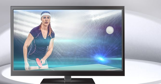 table tennis player on television