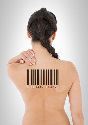Clone woman with barcode on back