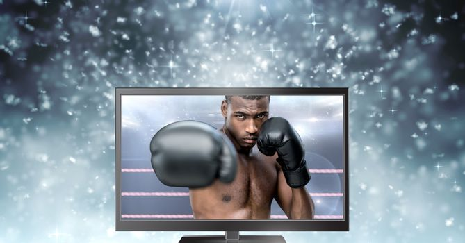 boxer fighter on television