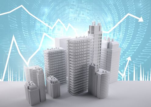 Buildings with code and economic scales background