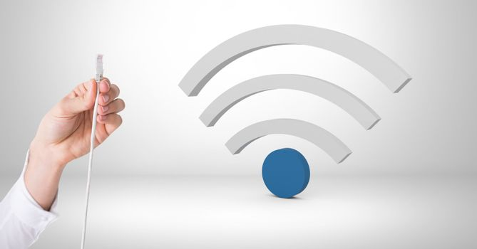 Hand holding wire connection with wi-fi icon