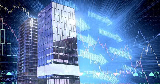 Buildings with financial economic scales background