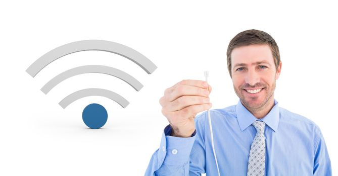 Man holding wire connection with wi-fi icon