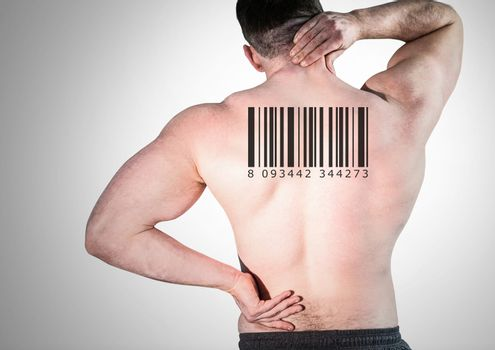Clone man in row with barcode on back