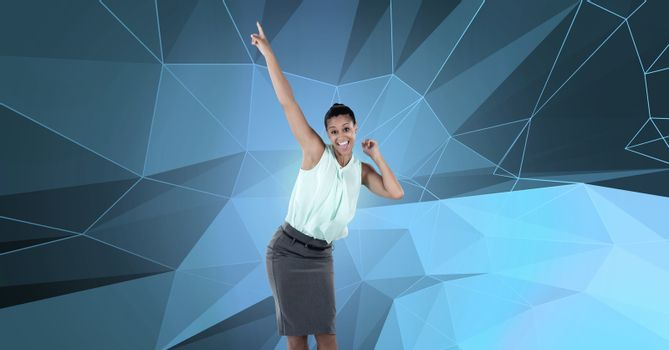 Businesswoman dancing with polygon shapes