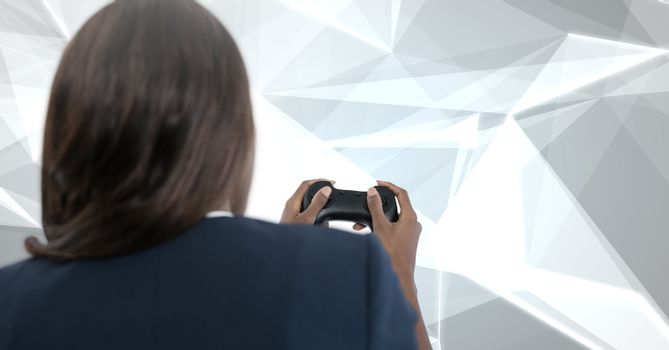 Woman holding gaming controller