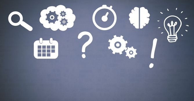 Idea thought and brainstorm process icons