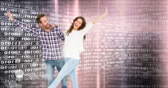 Digital composite of Couple dancing with digital technology interface