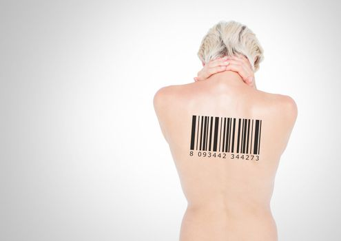 Clone women with barcode on back