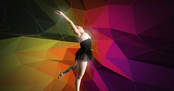 Dancer with colorful polygon background