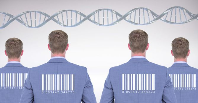 Clone men with genetic DNA and barcode