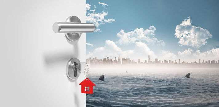 Composite image of digitally generated image of doorknob