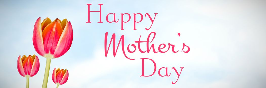 Happy mothers day against flowers on sky background