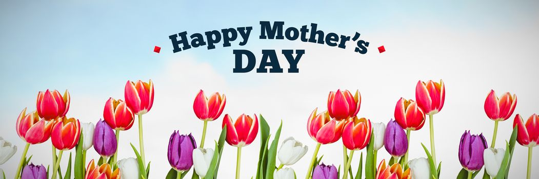 mothers day greeting against flowers on sky background
