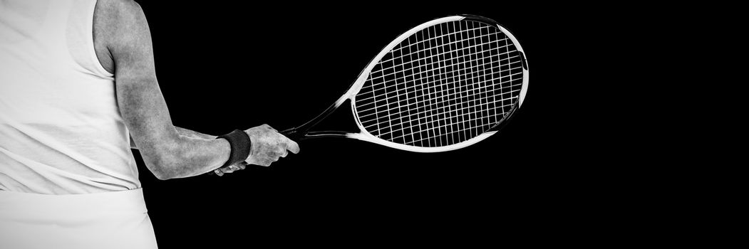 Athlete playing tennis with a racket