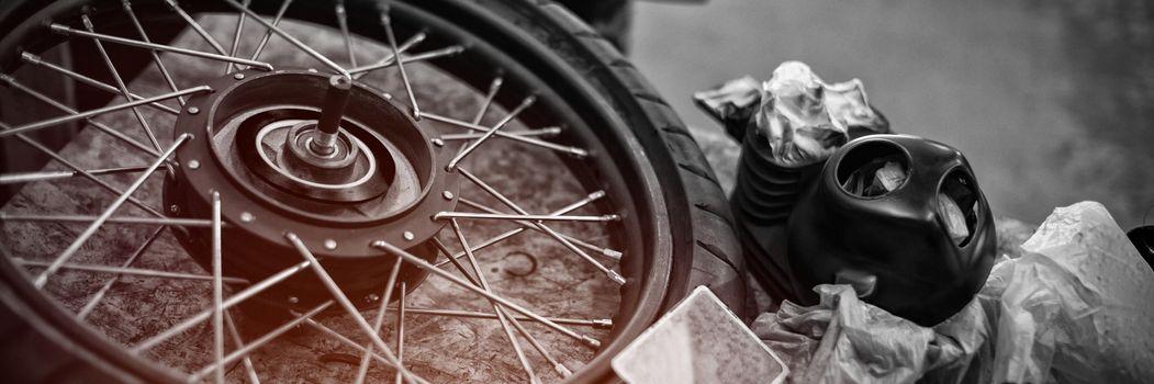 Motorcycle tyre in garage