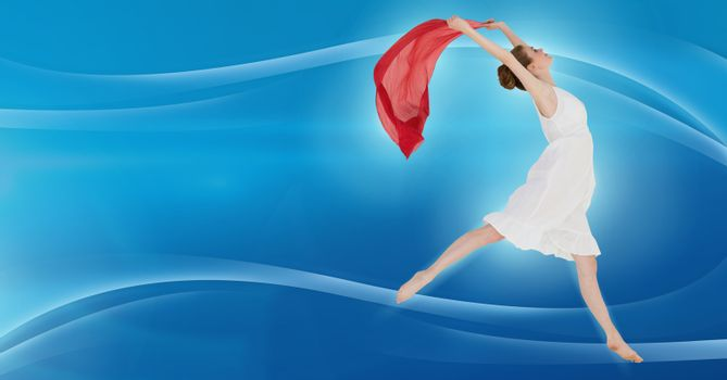 Dancer expressing and flowing with curves and red sheet