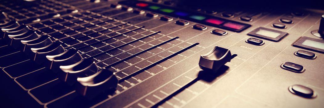 Sound mixer in studio
