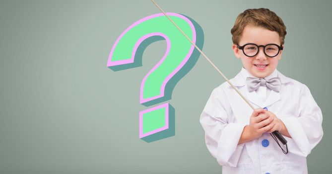 Clever Kid Boy with funky cool question mark
