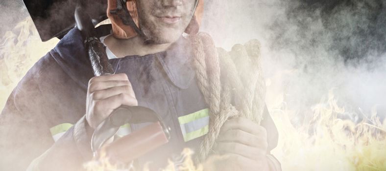 Composite image of professional fireman
