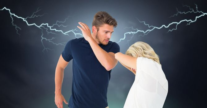 Lightning strikes and abusive relationship couple