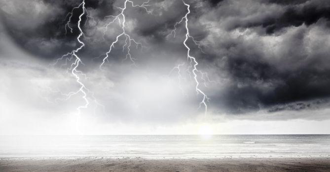 Lightning strikes in sky