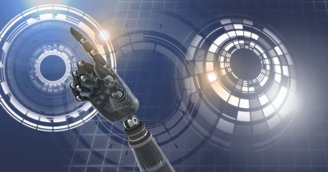 Robot android hand and Glowing circle technology interface