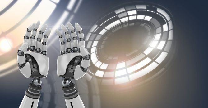Robotic android hands and Glowing circle technology interface