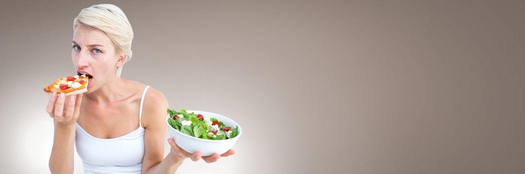 Woman deciding between healthy food and unhealthy choice