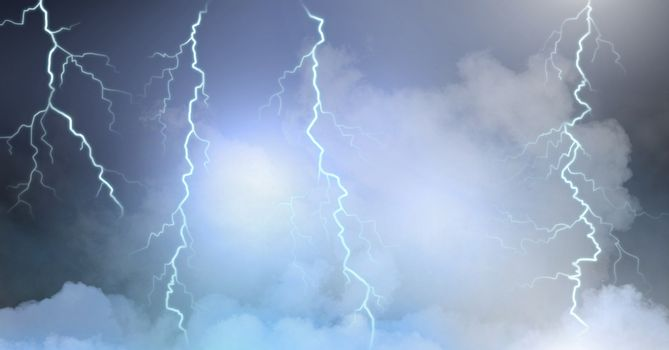 Lightning strikes in clouds