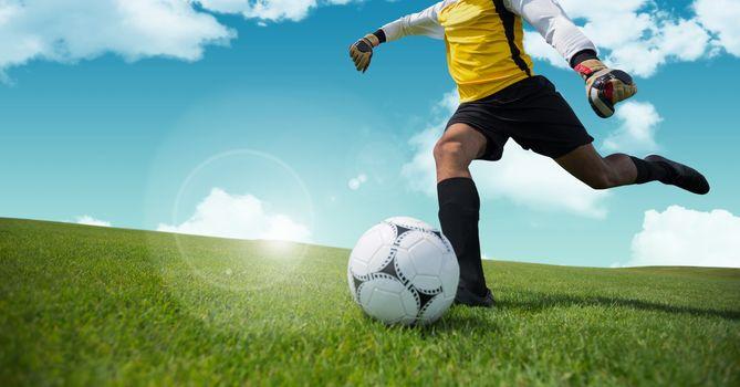 Goalkeeper kicking football on grass