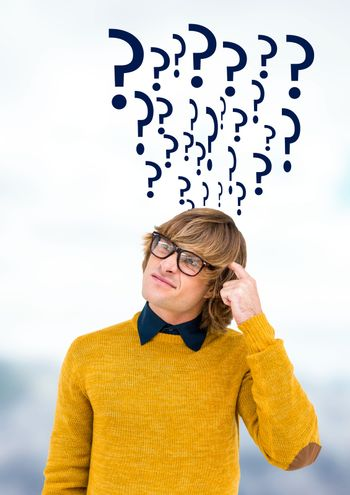 Man thinking with quirky question marks
