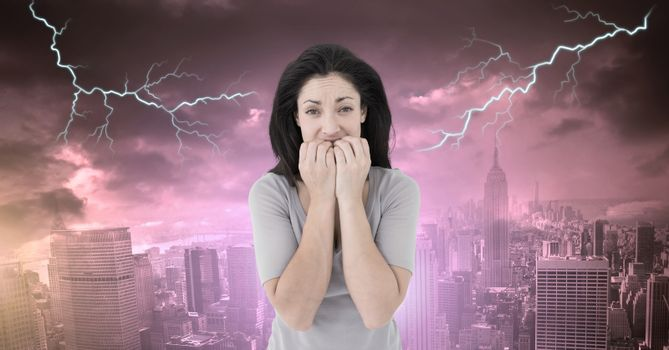 Lightning strikes and scared afraid woman
