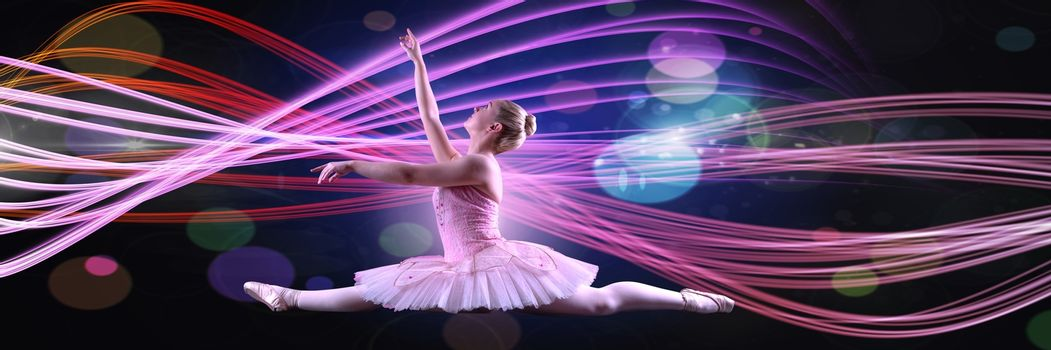 Dancer with glowing colorful curves