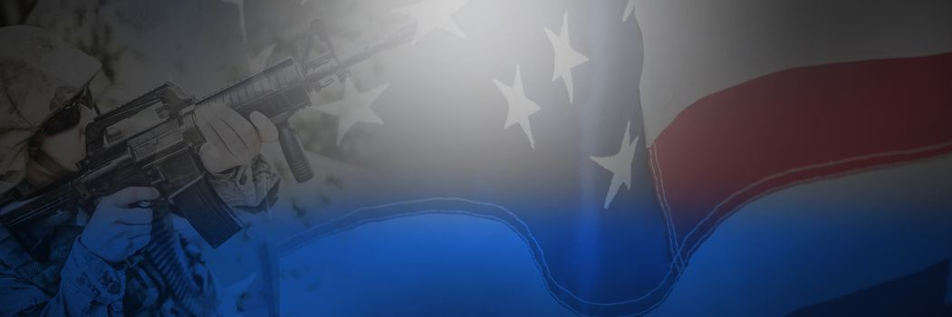 Composite image of flag with stripes and stars