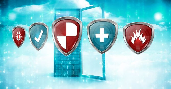 Antivirus security protection shields and server