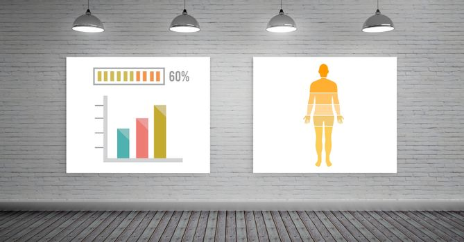 Educational human body statistical charts on wall