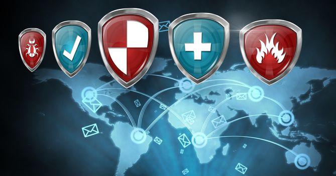 Antivirus security protection shields