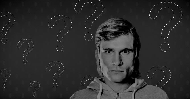 Mystery man thinking with question marks
