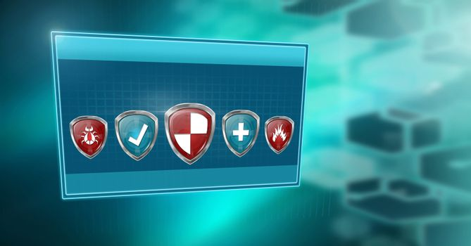 Antivirus security protection shields in box